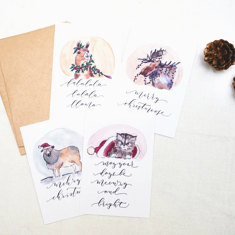 Animal puns collectors set everyday christmas cards for Wildlife christmas cards 2016
